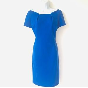 T. TAHARI ELECTRIC BLUE MIDI CAREER DRESS